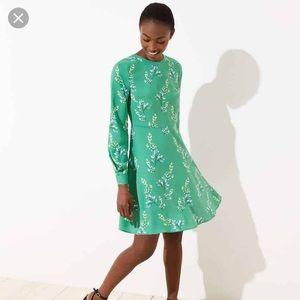 Loft green floral dress